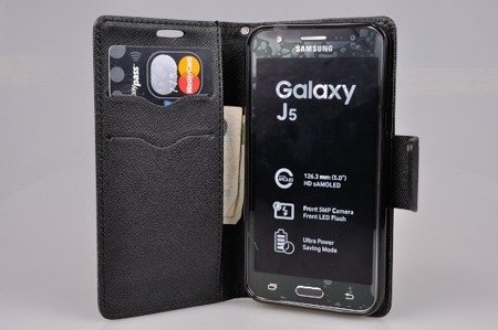 Etui portfel Fancy Case do SAMSUNG GALAXY J5 j500 (j5 2015) czarny