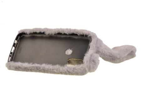 Etui z futerkiem króliczek do Samsung Galaxy M21 szary